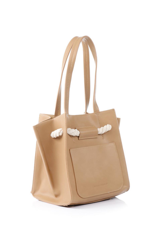 meliebiancoのMonica(Tan)ロープモチーフ・トートバッグ/海外ファッション好きにオススメのインポートバッグとかばん、MelieBianco(メリービアンコ)のバッグやトートバッグ。マリンテイストのロープが可愛い巾着タイプのトートバッグ。可愛らしいデザインの中は仕切りを兼ねたポケットが使いやすい便利な構造。/main-3