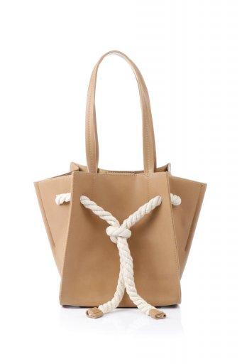 海外ファッションや大人カジュアルのためのインポートバッグ、かばんmelie bianco(メリービアンコ)のMonica (Tan) ロープモチーフ・トートバッグ