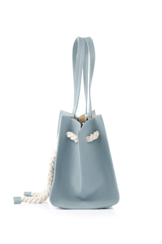 meliebiancoのMonica(Blue)ロープモチーフ・トートバッグ/海外ファッション好きにオススメのインポートバッグとかばん、MelieBianco(メリービアンコ)のバッグやトートバッグ。マリンテイストのロープが可愛い巾着タイプのトートバッグ。可愛らしいデザインの中は仕切りを兼ねたポケットが使いやすい便利な構造。/main-2