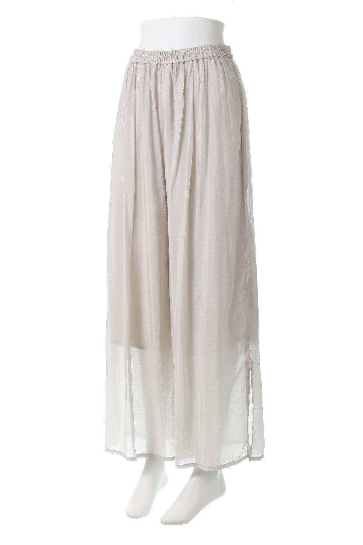 WideLegSlitSheerPantsサイドスリット・シアーパンツ大人カジュアルに最適な海外ファッションのothers(その他インポートアイテム)のボトムやパンツ。透け感のある人気のシアー素材を使用したワイドパンツ。涼しげな素材でスカートのような軽い着心地です。/main-1