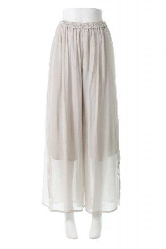 海外ファッションや大人カジュアルに最適なインポートセレクトアイテムのWide Leg Slit Sheer Pants サイドスリット・シアーパンツ