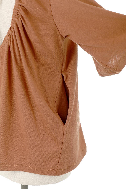 OpenBackGatheredTieTopバックシャン背中空き・リラックスカットソー大人カジュアルに最適な海外ファッションのothers(その他インポートアイテム)のトップスやカットソー。バックスタイルのデザインがおしゃれなカットソー。肉厚なTシャツ生地ので透け感はありません。/main-15