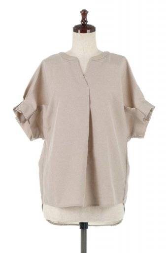 海外ファッションや大人カジュアルに最適なインポートセレクトアイテムのTack Sleeve Collarless Blouse タックスリーブ・ノーカラーブラウス