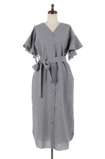 海外ファッションや大人カジュアルに最適なインポートセレクトアイテムの2 Way Frill Sleeve Collarless Dress フリルスリーブ・2Wayノーカラーワンピース