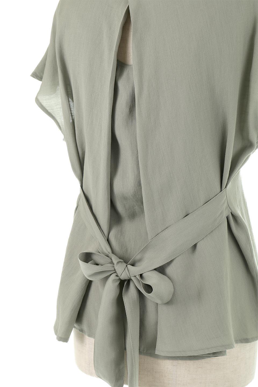 CacheCoeurBackBlouseバックカシュクール・タックブラウス大人カジュアルに最適な海外ファッションのothers(その他インポートアイテム)のトップスやシャツ・ブラウス。センターバックにカシュクールデザインを入れたチラ見せスタイルのブラウス。さらにベルトでバックシャンディテールに。/main-24