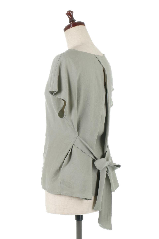 CacheCoeurBackBlouseバックカシュクール・タックブラウス大人カジュアルに最適な海外ファッションのothers(その他インポートアイテム)のトップスやシャツ・ブラウス。センターバックにカシュクールデザインを入れたチラ見せスタイルのブラウス。さらにベルトでバックシャンディテールに。/main-3