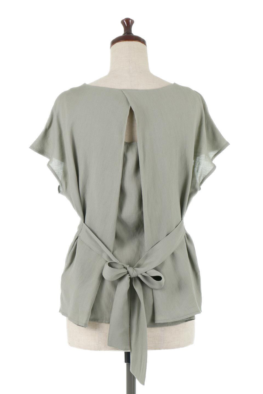 CacheCoeurBackBlouseバックカシュクール・タックブラウス大人カジュアルに最適な海外ファッションのothers(その他インポートアイテム)のトップスやシャツ・ブラウス。センターバックにカシュクールデザインを入れたチラ見せスタイルのブラウス。さらにベルトでバックシャンディテールに。/main-4