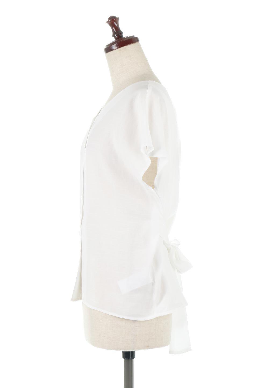 CacheCoeurBackBlouseバックカシュクール・タックブラウス大人カジュアルに最適な海外ファッションのothers(その他インポートアイテム)のトップスやシャツ・ブラウス。センターバックにカシュクールデザインを入れたチラ見せスタイルのブラウス。さらにベルトでバックシャンディテールに。/main-7