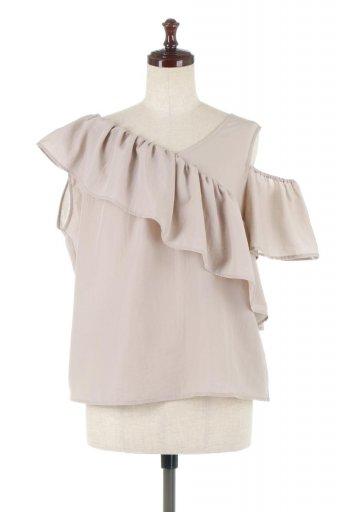 海外ファッションや大人カジュアルに最適なインポートセレクトアイテムのOut Cut Frill Layered Blouse アウトカット・2Wayフリルブラウス