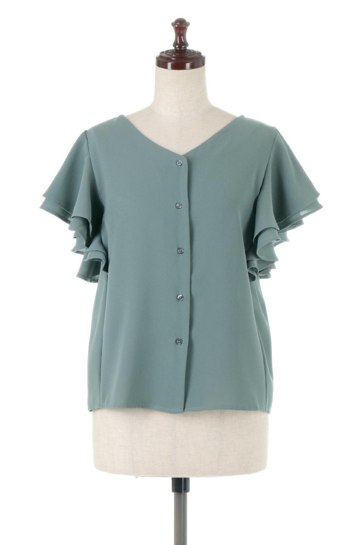 DoubleFrillSleeveButtonBlouseダブルフリルスリーブ・ボタンブラウス大人カジュアルに最適な海外ファッションのothers(その他インポートアイテム)のトップスやシャツ・ブラウス。動くたびに揺れる袖のドレープは、エレガントな雰囲気を演出してくれるブラウス。前開きなので、羽織りとしても着られます。