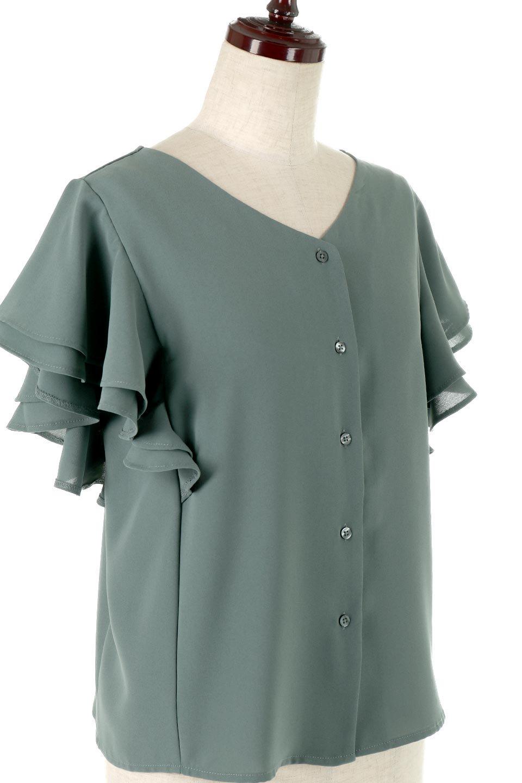 DoubleFrillSleeveButtonBlouseダブルフリルスリーブ・ボタンブラウス大人カジュアルに最適な海外ファッションのothers(その他インポートアイテム)のトップスやシャツ・ブラウス。動くたびに揺れる袖のドレープは、エレガントな雰囲気を演出してくれるブラウス。前開きなので、羽織りとしても着られます。/main-10