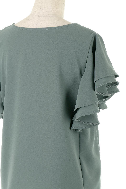 DoubleFrillSleeveButtonBlouseダブルフリルスリーブ・ボタンブラウス大人カジュアルに最適な海外ファッションのothers(その他インポートアイテム)のトップスやシャツ・ブラウス。動くたびに揺れる袖のドレープは、エレガントな雰囲気を演出してくれるブラウス。前開きなので、羽織りとしても着られます。/main-11