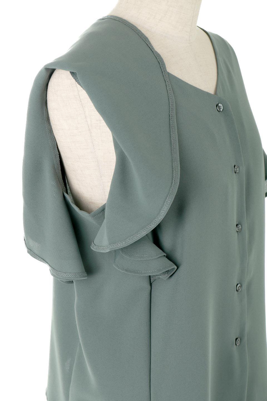 DoubleFrillSleeveButtonBlouseダブルフリルスリーブ・ボタンブラウス大人カジュアルに最適な海外ファッションのothers(その他インポートアイテム)のトップスやシャツ・ブラウス。動くたびに揺れる袖のドレープは、エレガントな雰囲気を演出してくれるブラウス。前開きなので、羽織りとしても着られます。/main-12