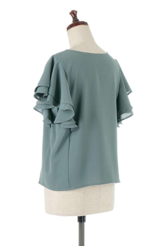 DoubleFrillSleeveButtonBlouseダブルフリルスリーブ・ボタンブラウス大人カジュアルに最適な海外ファッションのothers(その他インポートアイテム)のトップスやシャツ・ブラウス。動くたびに揺れる袖のドレープは、エレガントな雰囲気を演出してくれるブラウス。前開きなので、羽織りとしても着られます。/main-3