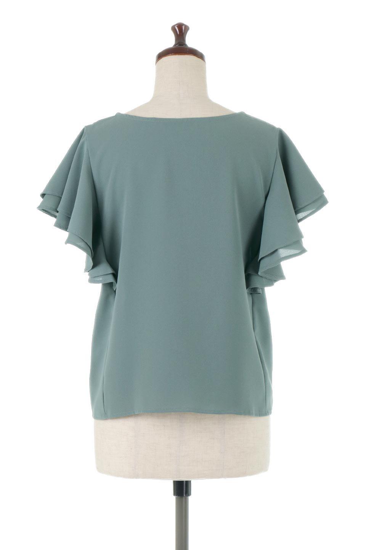 DoubleFrillSleeveButtonBlouseダブルフリルスリーブ・ボタンブラウス大人カジュアルに最適な海外ファッションのothers(その他インポートアイテム)のトップスやシャツ・ブラウス。動くたびに揺れる袖のドレープは、エレガントな雰囲気を演出してくれるブラウス。前開きなので、羽織りとしても着られます。/main-4