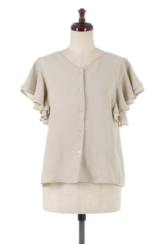 DoubleFrillSleeveButtonBlouseダブルフリルスリーブ・ボタンブラウス大人カジュアルに最適な海外ファッションのothers(その他インポートアイテム)のトップスやシャツ・ブラウス。動くたびに揺れる袖のドレープは、エレガントな雰囲気を演出してくれるブラウス。前開きなので、羽織りとしても着られます。/main-5