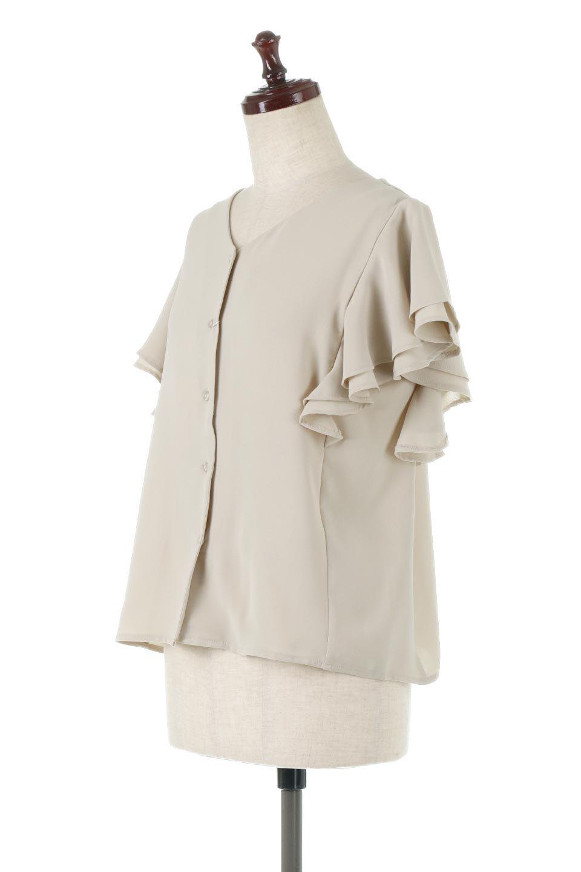 DoubleFrillSleeveButtonBlouseダブルフリルスリーブ・ボタンブラウス大人カジュアルに最適な海外ファッションのothers(その他インポートアイテム)のトップスやシャツ・ブラウス。動くたびに揺れる袖のドレープは、エレガントな雰囲気を演出してくれるブラウス。前開きなので、羽織りとしても着られます。/main-6