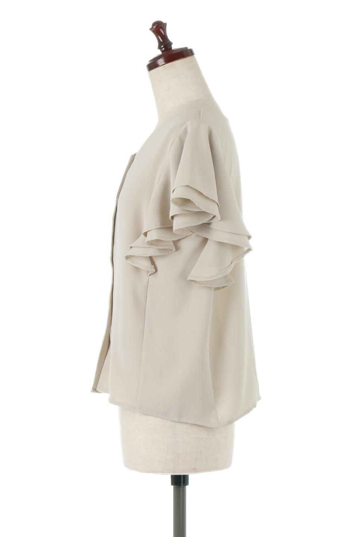DoubleFrillSleeveButtonBlouseダブルフリルスリーブ・ボタンブラウス大人カジュアルに最適な海外ファッションのothers(その他インポートアイテム)のトップスやシャツ・ブラウス。動くたびに揺れる袖のドレープは、エレガントな雰囲気を演出してくれるブラウス。前開きなので、羽織りとしても着られます。/main-7