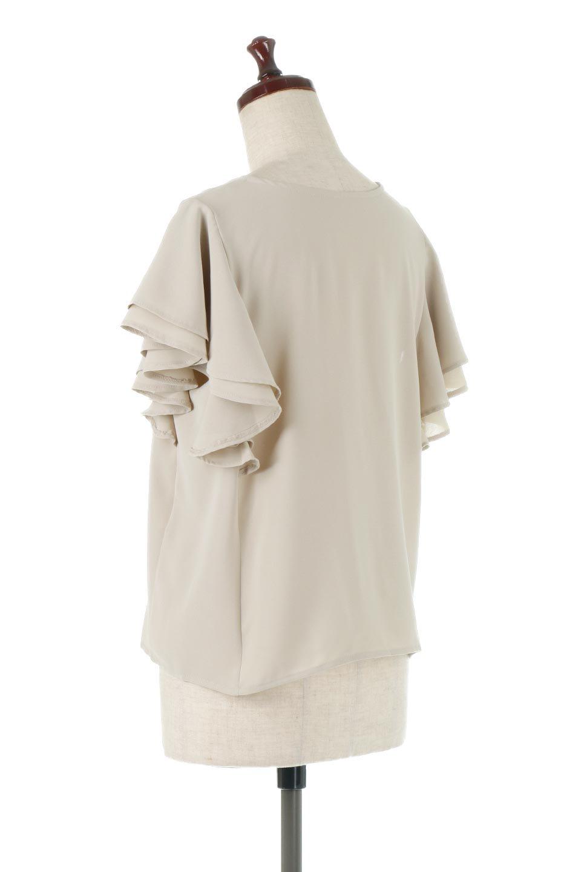 DoubleFrillSleeveButtonBlouseダブルフリルスリーブ・ボタンブラウス大人カジュアルに最適な海外ファッションのothers(その他インポートアイテム)のトップスやシャツ・ブラウス。動くたびに揺れる袖のドレープは、エレガントな雰囲気を演出してくれるブラウス。前開きなので、羽織りとしても着られます。/main-8