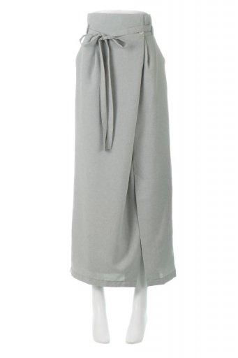 海外ファッションや大人カジュアルに最適なインポートセレクトアイテムのAsymmetrical Wrap Long Skirt アシメデザイン・ラップロングスカート