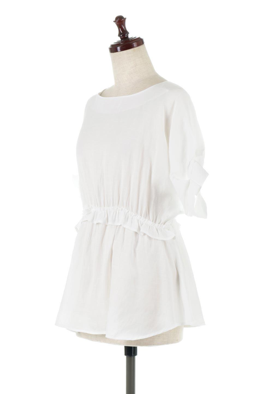 WaistFrilledTackSleeveBlouseタックスリーブ・ウエストフリルブラウス大人カジュアルに最適な海外ファッションのothers(その他インポートアイテム)のトップスやシャツ・ブラウス。摘んだようなタック袖と、ウエストにフリルをあしらった半袖ブラウス。立体的なペプラムシルエットを楽しめます。/main-1