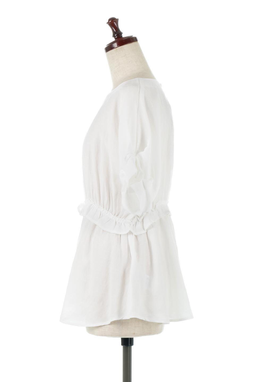 WaistFrilledTackSleeveBlouseタックスリーブ・ウエストフリルブラウス大人カジュアルに最適な海外ファッションのothers(その他インポートアイテム)のトップスやシャツ・ブラウス。摘んだようなタック袖と、ウエストにフリルをあしらった半袖ブラウス。立体的なペプラムシルエットを楽しめます。/main-2