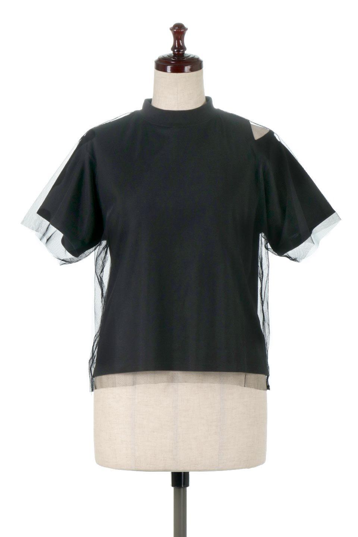Slit-In-ShoulderFauxLayeredTop肩スリット・チュールレイヤードTシャツ大人カジュアルに最適な海外ファッションのothers(その他インポートアイテム)のトップスやカットソー。チュール×スリットを施した今年らしいトップス。肌触りの良いTシャツに透け感がありシワになりにくいチュール素材をレイヤード。