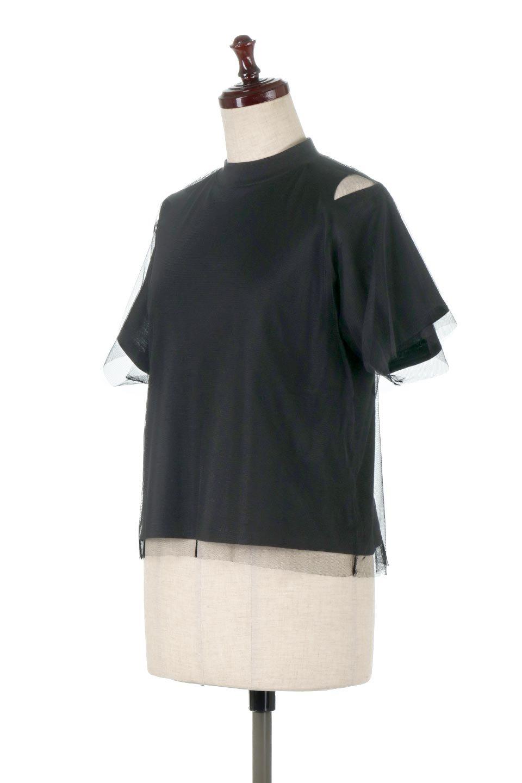 Slit-In-ShoulderFauxLayeredTop肩スリット・チュールレイヤードTシャツ大人カジュアルに最適な海外ファッションのothers(その他インポートアイテム)のトップスやカットソー。チュール×スリットを施した今年らしいトップス。肌触りの良いTシャツに透け感がありシワになりにくいチュール素材をレイヤード。/main-1