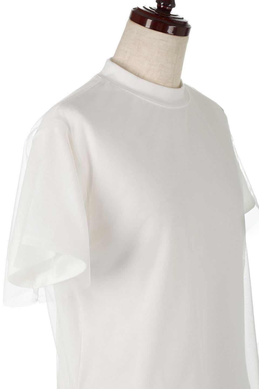 Slit-In-ShoulderFauxLayeredTop肩スリット・チュールレイヤードTシャツ大人カジュアルに最適な海外ファッションのothers(その他インポートアイテム)のトップスやカットソー。チュール×スリットを施した今年らしいトップス。肌触りの良いTシャツに透け感がありシワになりにくいチュール素材をレイヤード。/main-10