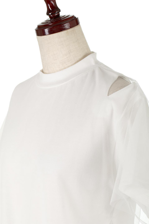 Slit-In-ShoulderFauxLayeredTop肩スリット・チュールレイヤードTシャツ大人カジュアルに最適な海外ファッションのothers(その他インポートアイテム)のトップスやカットソー。チュール×スリットを施した今年らしいトップス。肌触りの良いTシャツに透け感がありシワになりにくいチュール素材をレイヤード。/main-11
