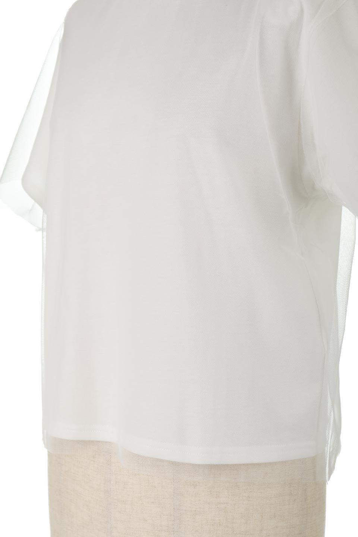Slit-In-ShoulderFauxLayeredTop肩スリット・チュールレイヤードTシャツ大人カジュアルに最適な海外ファッションのothers(その他インポートアイテム)のトップスやカットソー。チュール×スリットを施した今年らしいトップス。肌触りの良いTシャツに透け感がありシワになりにくいチュール素材をレイヤード。/main-16