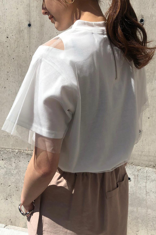 Slit-In-ShoulderFauxLayeredTop肩スリット・チュールレイヤードTシャツ大人カジュアルに最適な海外ファッションのothers(その他インポートアイテム)のトップスやカットソー。チュール×スリットを施した今年らしいトップス。肌触りの良いTシャツに透け感がありシワになりにくいチュール素材をレイヤード。/main-20
