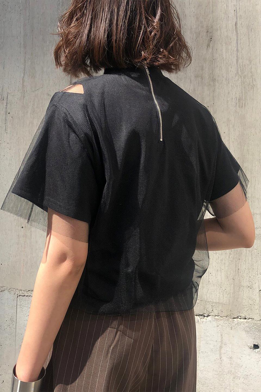 Slit-In-ShoulderFauxLayeredTop肩スリット・チュールレイヤードTシャツ大人カジュアルに最適な海外ファッションのothers(その他インポートアイテム)のトップスやカットソー。チュール×スリットを施した今年らしいトップス。肌触りの良いTシャツに透け感がありシワになりにくいチュール素材をレイヤード。/main-22