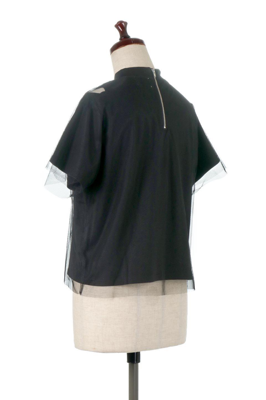 Slit-In-ShoulderFauxLayeredTop肩スリット・チュールレイヤードTシャツ大人カジュアルに最適な海外ファッションのothers(その他インポートアイテム)のトップスやカットソー。チュール×スリットを施した今年らしいトップス。肌触りの良いTシャツに透け感がありシワになりにくいチュール素材をレイヤード。/main-3