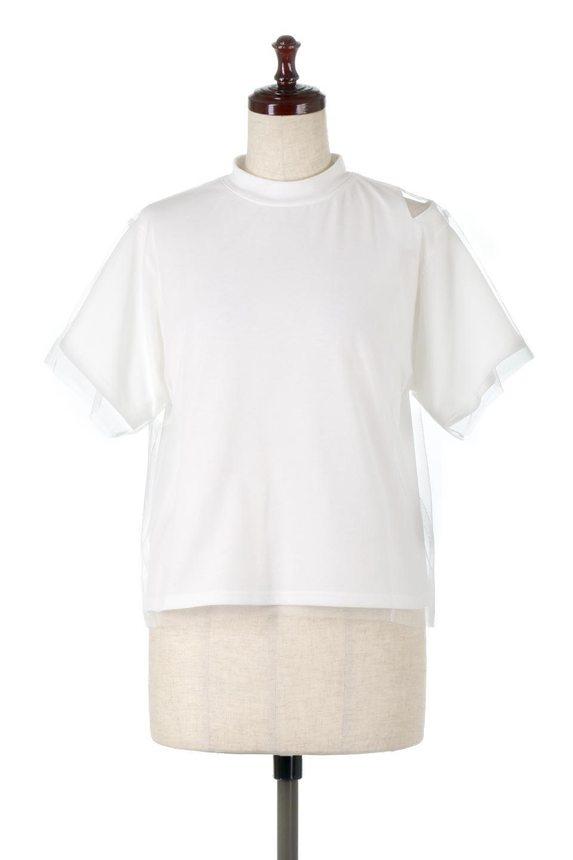 Slit-In-ShoulderFauxLayeredTop肩スリット・チュールレイヤードTシャツ大人カジュアルに最適な海外ファッションのothers(その他インポートアイテム)のトップスやカットソー。チュール×スリットを施した今年らしいトップス。肌触りの良いTシャツに透け感がありシワになりにくいチュール素材をレイヤード。/main-5