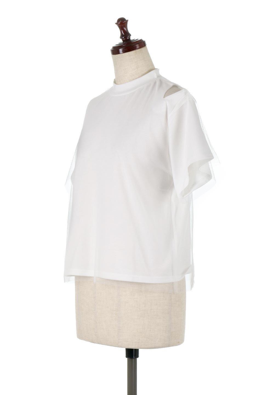 Slit-In-ShoulderFauxLayeredTop肩スリット・チュールレイヤードTシャツ大人カジュアルに最適な海外ファッションのothers(その他インポートアイテム)のトップスやカットソー。チュール×スリットを施した今年らしいトップス。肌触りの良いTシャツに透け感がありシワになりにくいチュール素材をレイヤード。/main-6