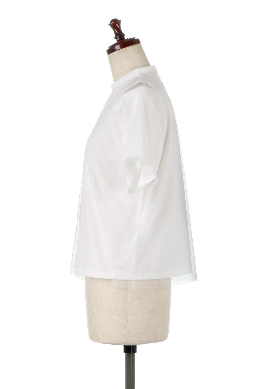 Slit-In-ShoulderFauxLayeredTop肩スリット・チュールレイヤードTシャツ大人カジュアルに最適な海外ファッションのothers(その他インポートアイテム)のトップスやカットソー。チュール×スリットを施した今年らしいトップス。肌触りの良いTシャツに透け感がありシワになりにくいチュール素材をレイヤード。/main-7