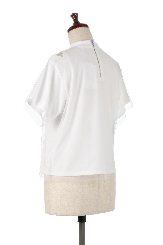 Slit-In-ShoulderFauxLayeredTop肩スリット・チュールレイヤードTシャツ大人カジュアルに最適な海外ファッションのothers(その他インポートアイテム)のトップスやカットソー。チュール×スリットを施した今年らしいトップス。肌触りの良いTシャツに透け感がありシワになりにくいチュール素材をレイヤード。/main-8