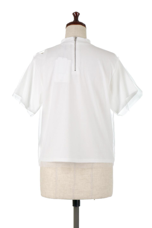 Slit-In-ShoulderFauxLayeredTop肩スリット・チュールレイヤードTシャツ大人カジュアルに最適な海外ファッションのothers(その他インポートアイテム)のトップスやカットソー。チュール×スリットを施した今年らしいトップス。肌触りの良いTシャツに透け感がありシワになりにくいチュール素材をレイヤード。/main-9