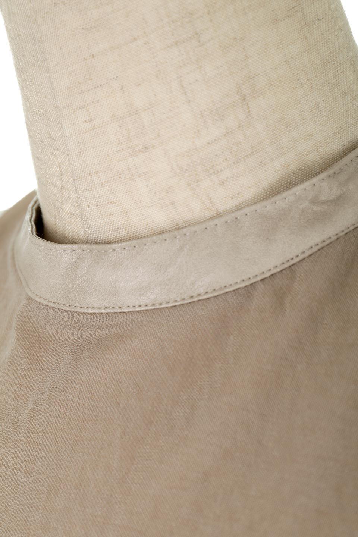 EcoLeatherStrapNeckSheerTopリネンライクシアー・レザーネックトップス大人カジュアルに最適な海外ファッションのothers(その他インポートアイテム)のトップスやカットソー。首のディテールにレザーを使用し、雰囲気を引き締めたバックシャンなリネンタッチカットソー。麻のようなナチュラル感が優しい印象に。/main-18