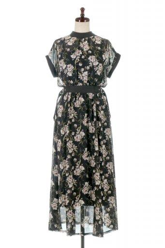 海外ファッションや大人カジュアルに最適なインポートセレクトアイテムのSide Belt Floral Long Dress 花柄・サイドベルトワンピース