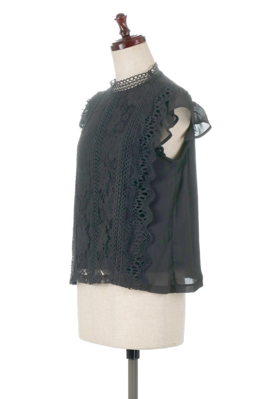 FrilledLaceFrenchSleeveBlouseフリルレース・フレンチスリーブブラウス大人カジュアルに最適な海外ファッションのothers(その他インポートアイテム)のトップスやカットソー。生地レースに2種類の繊細なケミカルレースを使用したフェミニンなブラウス。前の脇〜後身頃・袖には楊柳シフォンを使用しているので、さらりと着心地も良く、肩先の隠れるフレンチスリーブで着用しやすい1着です。/main-11