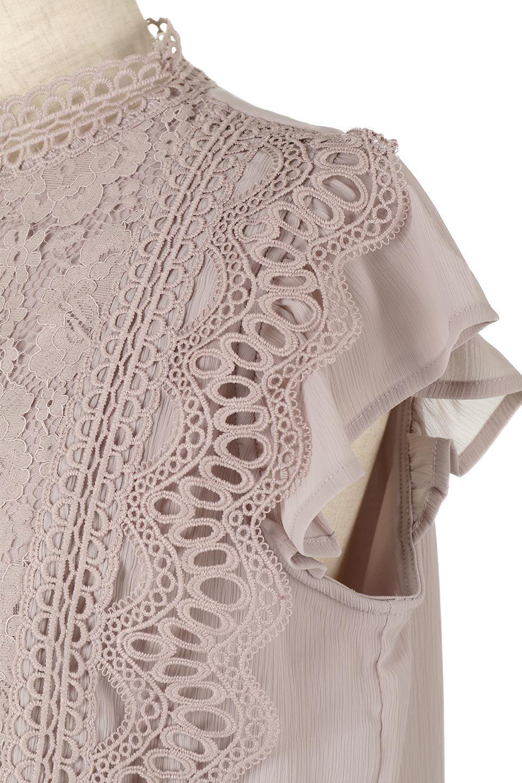 FrilledLaceFrenchSleeveBlouseフリルレース・フレンチスリーブブラウス大人カジュアルに最適な海外ファッションのothers(その他インポートアイテム)のトップスやカットソー。生地レースに2種類の繊細なケミカルレースを使用したフェミニンなブラウス。前の脇〜後身頃・袖には楊柳シフォンを使用しているので、さらりと着心地も良く、肩先の隠れるフレンチスリーブで着用しやすい1着です。/main-20