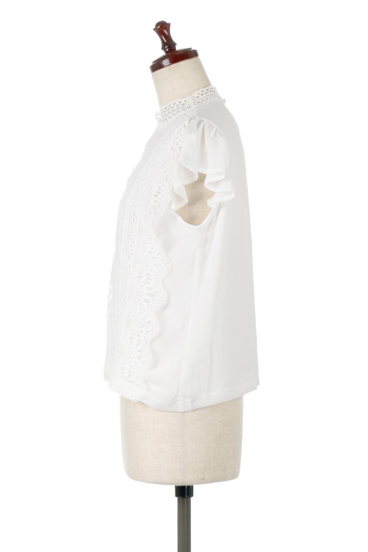 FrilledLaceFrenchSleeveBlouseフリルレース・フレンチスリーブブラウス大人カジュアルに最適な海外ファッションのothers(その他インポートアイテム)のトップスやカットソー。生地レースに2種類の繊細なケミカルレースを使用したフェミニンなブラウス。前の脇〜後身頃・袖には楊柳シフォンを使用しているので、さらりと着心地も良く、肩先の隠れるフレンチスリーブで着用しやすい1着です。/main-7
