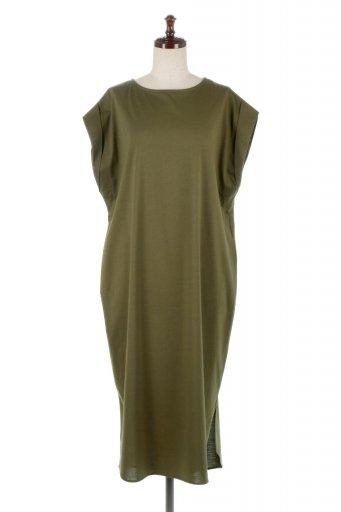 海外ファッションや大人カジュアルに最適なインポートセレクトアイテムのFrench Sleeve Long T-Shirts Dress フレンチスリーブ・Tシャツワンピース