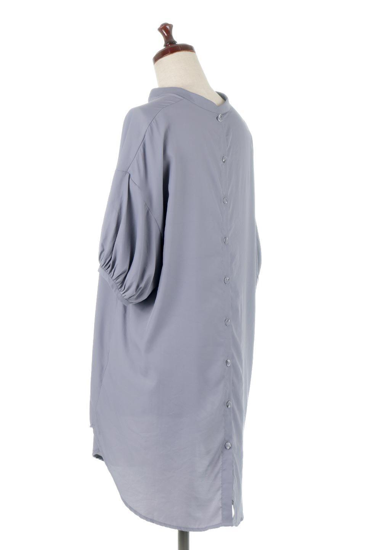 BackButtonKey-NeckLongBlouseキーネック・ロングブラウス大人カジュアルに最適な海外ファッションのothers(その他インポートアイテム)のトップスやシャツ・ブラウス。注目のキーネック仕様のロングブラウス。後ろのボタンを少し外せば、こなれ感も増してオシャレ度アップ。/main-3