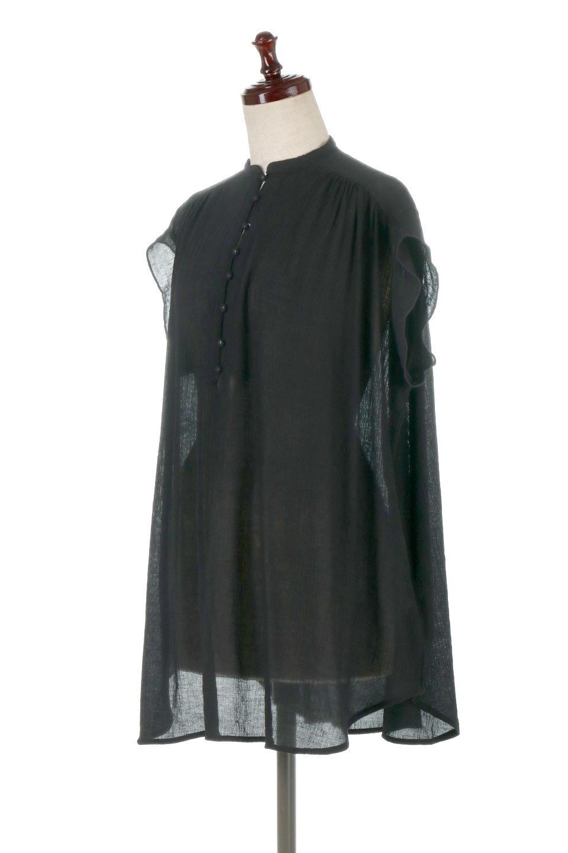 BandCollarFrillSleeveBlouseフリルスリーブ・バンドカラーブラウス大人カジュアルに最適な海外ファッションのothers(その他インポートアイテム)のトップスやシャツ・ブラウス。夏にピッタリの素材を使用したゆったりシルエットのブラウス。きちっとした印象のバンドカラーですが、ボタンの外し具合でカジュアル感を調節できます。/main-1