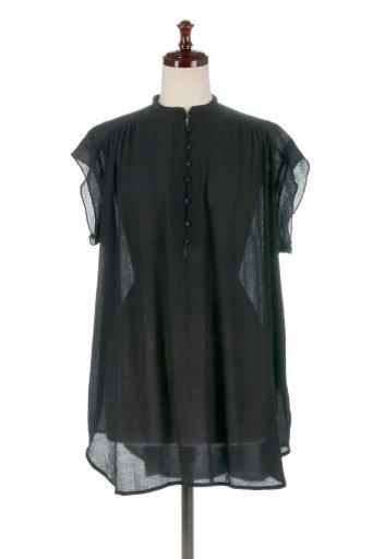 海外ファッションや大人カジュアルに最適なインポートセレクトアイテムのBand Collar Frill Sleeve Blouse フリルスリーブ・バンドカラーブラウス