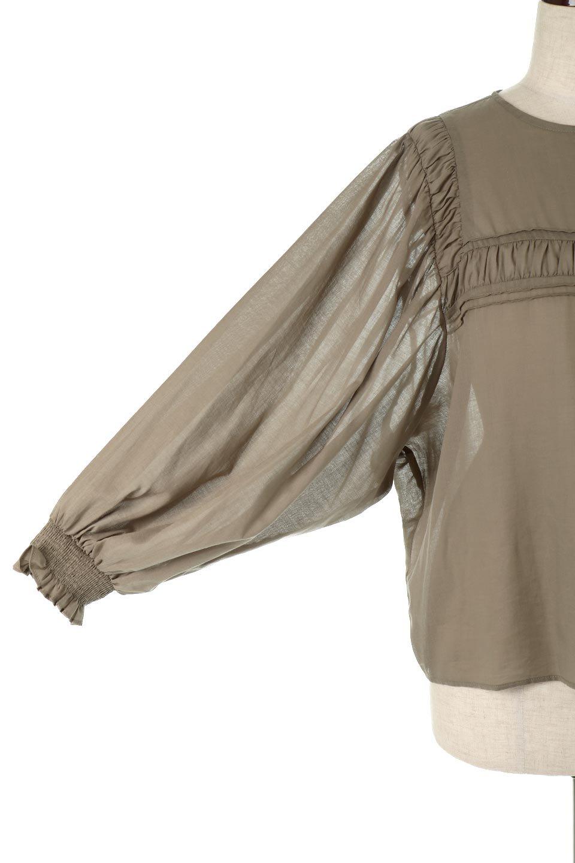 BalloonSleeveSemiSheerBlouseバルーンスリーブ・シアーブラウス大人カジュアルに最適な海外ファッションのothers(その他インポートアイテム)のトップスやシャツ・ブラウス。ボリュームのある袖が特徴的なトレンド感のあるブラウス。胸元と肩には生地を寄せながら柄を作っており、柔らかいイメージを表現しています。/main-10
