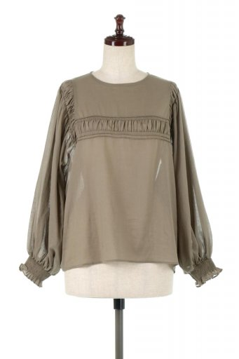 海外ファッションや大人カジュアルに最適なインポートセレクトアイテムのBalloon Sleeve Semi Sheer Blouse バルーンスリーブ・シアーブラウス